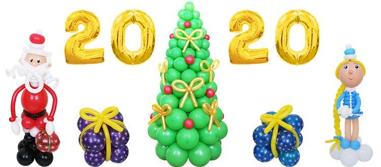 Украшение новогоднего зала шарами 32