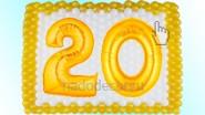 Панно из шаров к двадцатилетию (цифры «20» можно заменить)
