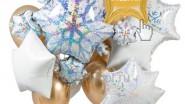Букет из гелиевых шаров снежинок новогодний