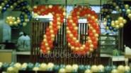 Оформление столовой шарами к 70 летию
