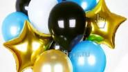 Букет из золотых, голубых и черных шаров: 1140р.-