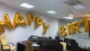 Надпись «Happy Birthbay» из воздушных шаров