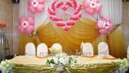 Оформление свадьбы шарами в розовом стиле