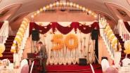 Оформление сцены шарами и тканью к 50 летию