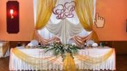Украшение зала для свадьбы тканью и цветами