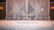 Оформление президиума свадьбы в белой цветовой гамме
