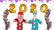 - «2016»<br />- Дед Мороз<br />- Снегурочка<br />- Звездный фонтан, 2шт<br />- 100 гел.шаров <br />- доставка<br />14330р