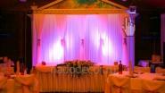 Украшение тканью и цветами с декоративной подсветкой