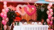 Свадебные сердца из шаров и фонтаны
