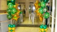Украшение офиса  к 23 февраля: фонтаны из шаров