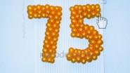 Надпись из шаров: 990 руб-. за знак