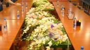 Оформление пресс конференции живыми цветами
