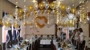 Украшение шарами банкетного зала на свадьбу