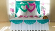 Украшение тканью и шарами на свадьбу
