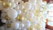Стена из белых шаров с конфетти «Органик»
