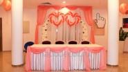 Украшение свадьбы тканью и шарами