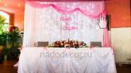 Украшение свадебного задника тканью с подсветкой и именами молодых