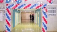 Украшение шарами фойе школы на выборы
