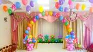 Украшение детского сада разноцветными шарами