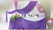 Свадебный фон: 6000руб. Стол (юбка и декор тканью): 2400 руб.