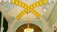 Бело- золотая гелиевая гирлянда из шаров