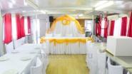 Украшение тканью теплохода на свадьбу