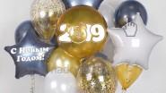 Букет из гелиевых шариков новогодний 2019 с символом года
