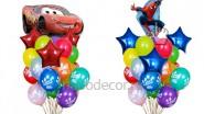 Букеты из шаров «Тачки» и «Спайдермен», высота-1.7м: 2225р/шт