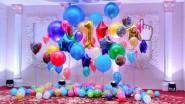 Украшение сцены шарами и светом ко дню рождения ребенка