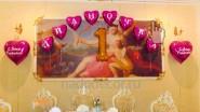 Поздравительная надпись на шарах с цифрой