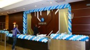 Украшение шарами филиала банка Бинбанк к юбилею
