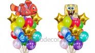 Букеты из шариков «Нэмо» и«Губка боб», высота-1.7м: 2225р/шт