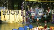 Украшение большого зала шарами и тканью