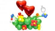 «Цветочная поляна» из шаров на День Святого Валентина: 1890 р.