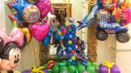 Украшение шарами и тканью сцены на 1 годик девочки