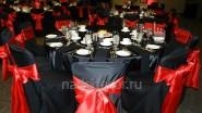 Украшение тканью столов гостей